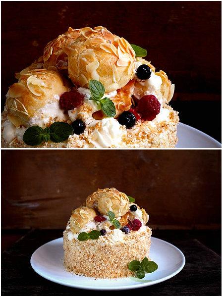 泡芙蛋糕的做法_泡芙蛋糕怎么做【鲁不猴】